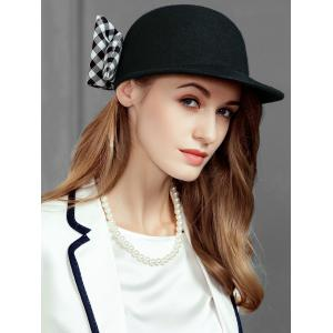 Vintage Checkered Pattern Bowknot Embellished Pillbox Hat -