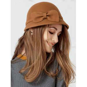Simple Bowknot Embellished Faux Wool Fedora Hat -