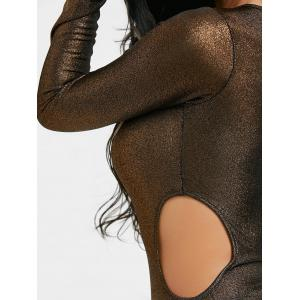 Long Sleeve Cut Out Metallic Bodysuit -