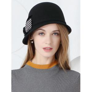 Simple Bowknot Pattern Faux Wool Pillbox Hat -