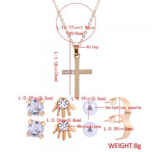 Faux Diamond Inlay Cross Necklace and Stud Earrings Set -
