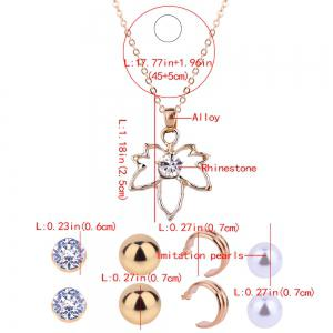 Artificial Jewelry Maple Leaf Necklace and Stud Earrings -