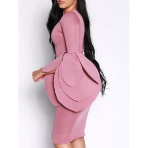 Dramatic Petal Sleeve Bodycon Dress -