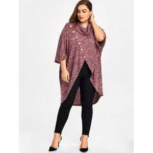 Plus Size Cowl Neck Space Dye Top -