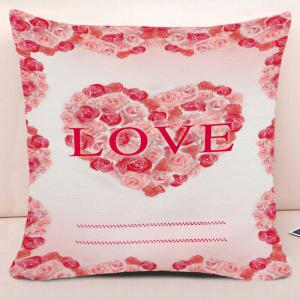 Valentine's Day Love Heart Roses Print Pillowcase -