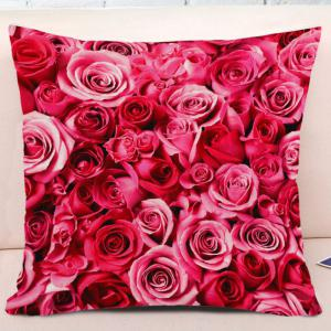 Valentine's Day Roses Pattern Square Throw Pillowcase -