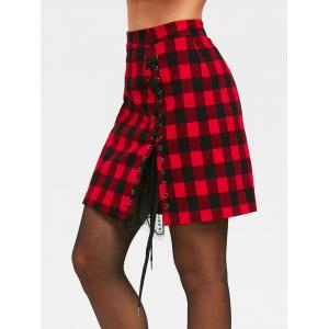 Lace Panel High Waist Criss Cross Tartan Skirt -