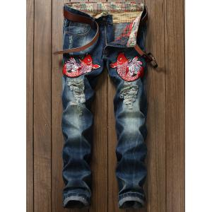 Fish Embroidery Ripped Jeans -