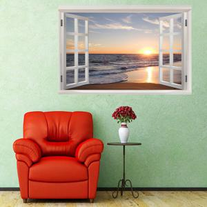 Removable Window View Seaside Sunset Wall Sticker -