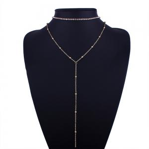 Simple Rhinestone Pendant Necklace with Earrings -
