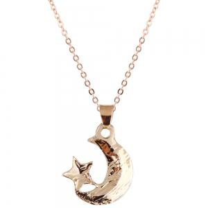Rhinestone Star Moon Necklace with Earring Set -