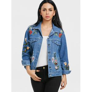Floral Embroidery Jean Jacket -