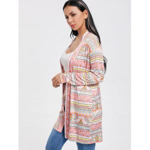 Printed Tunic Open Front Cardigan -