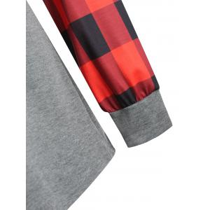 Plus Size Plaid Panel Raglan Sleeve  Tee -