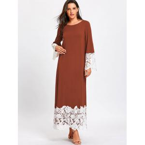 Long Sleeve Lace Trimmed Maxi Shift Dress -
