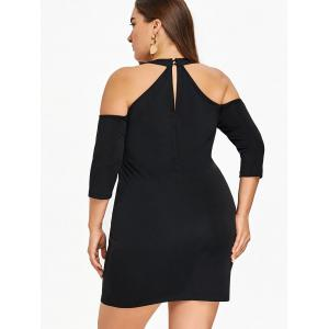 Plus Size Cold Shoulder Fitted Dress -