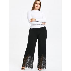 Plus Size Scalloped Edge Wide Leg Pants -