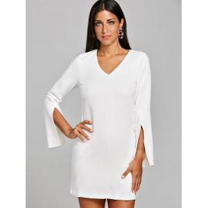 Slit Sleeve V Neck Shift Dress -