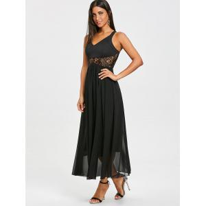 Mousseline de soie Racerback Lace Insert Long Dress -