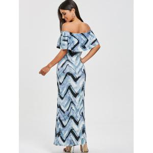 Zigzag Ruffle Off The Shoulder Maxi Dress -