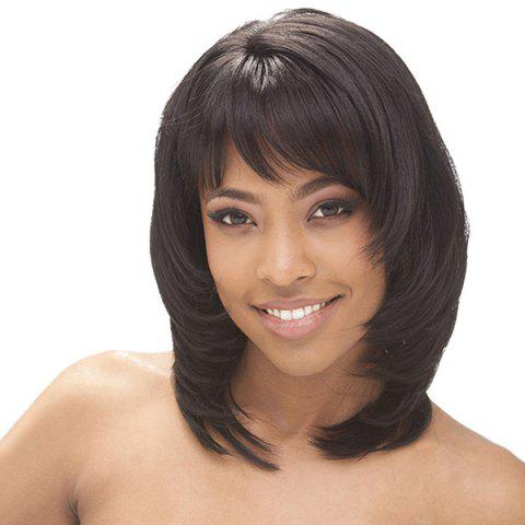 Best Medium Oblique Bang Tail Adduction Straight Synthetic Wig