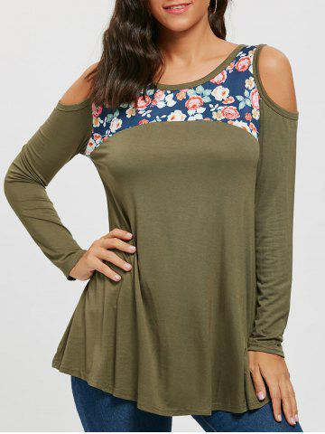 Chic Floral Print Panel Long Sleeve Cold Shoulder T-shirt
