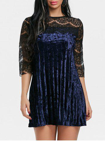 Shop Lace Panel Pleated Velvet Dress