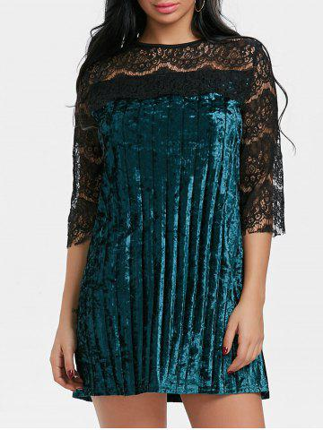 Discount Lace Panel Pleated Velvet Dress