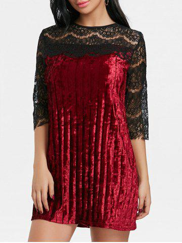 Trendy Lace Panel Pleated Velvet Dress