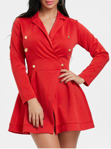 Fashion Lapel Collar Button Long Sleeve Dress