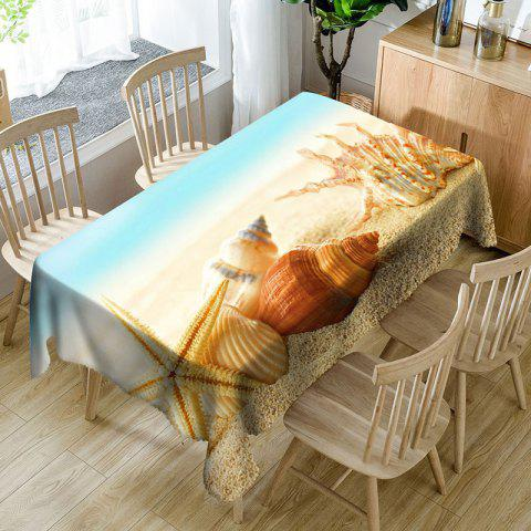 Trendy Beach Starfish Conch Printed Waterproof Table Cloth