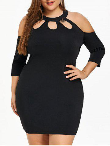 Fashion Plus Size Cold Shoulder Fitted Dress