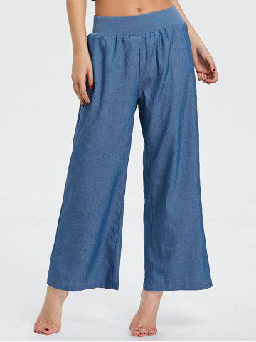 Trendy Elastic Waist Wide Leg Denim Pants