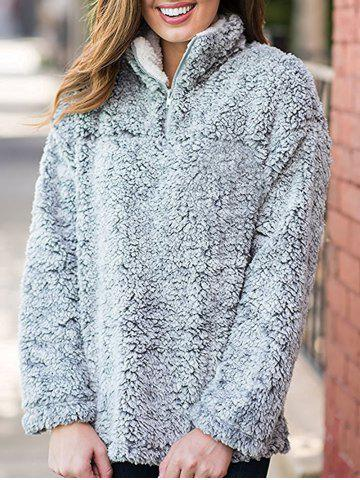 Trendy Faux Fur Half Zip Sweatshirt