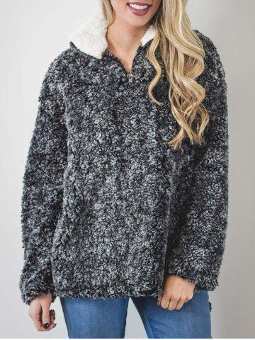 Unique Faux Fur Half Zip Sweatshirt