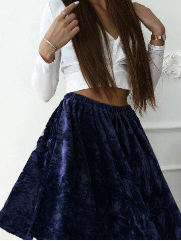 Latest High Waist Velvet Skater skirt