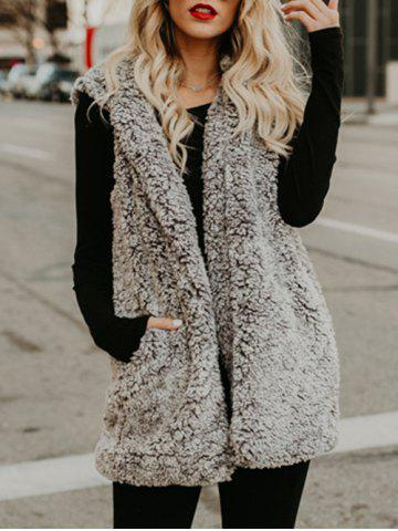 Sale Faux Fur Collarless Vest