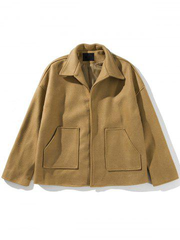 Pockets Cloak Woolen Jacket - KHAKI - XL