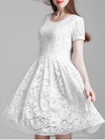Chic Short Sleeve A Line Lace Dress
