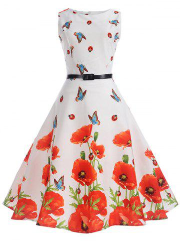 Trendy Sleeveless Butterfly and Floral Print A Line Dress