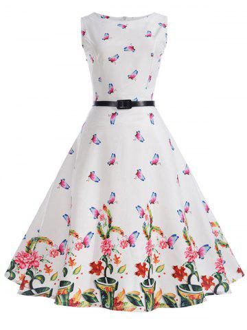 Affordable Sleeveless Butterfly Print A Line Dress with Belt