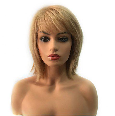Trendy Short Inclined Bang Straight Heat Resistant Synthetic Capless Wig