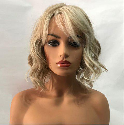 Affordable Short Inclined Bang Wavy Colormix Capless Synthetic Wig