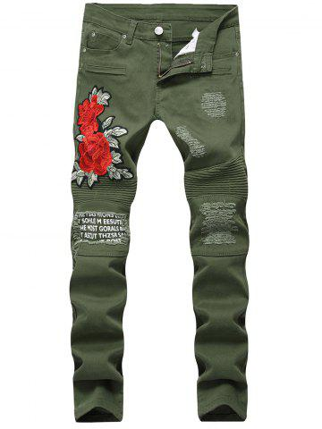 Fancy Floral Embroidery Distressed Biker Jeans