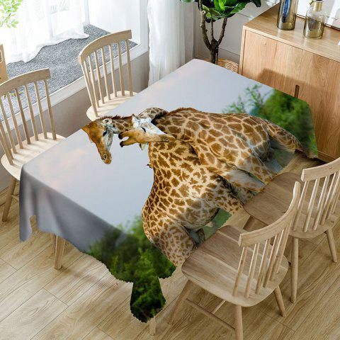 Cheap Romantic Giraffe Couple 3D Print Waterproof Table Cloth