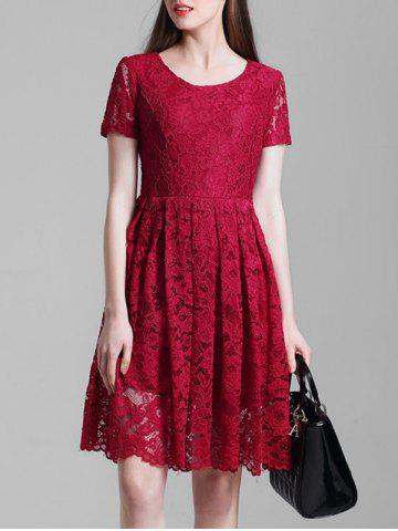 Outfits Short Sleeve A Line Lace Dress