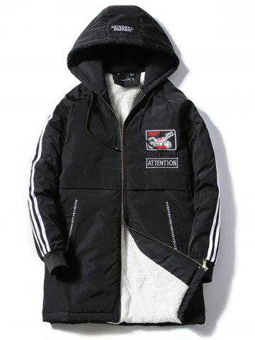 Buy Embroidered Applique Zip Up Fleece Padded Coat