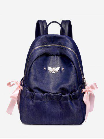 Latest Metal Embellished Bee Bow Ribbon Backpack