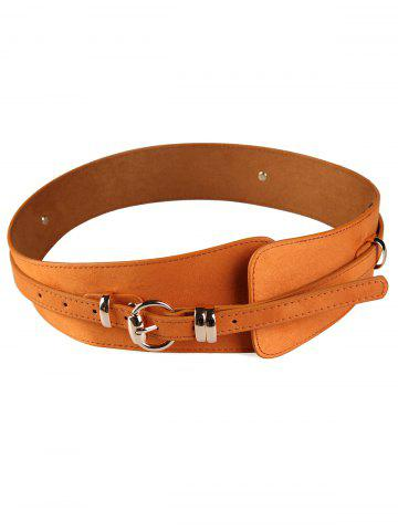 Chic Vintage Metal Round Buckle Embellished Wide Waist Belt