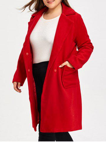 Fashion Wool Blend Belted Plus Size Trench Coat